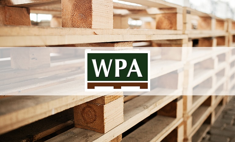 wpa branding over wooden pallets