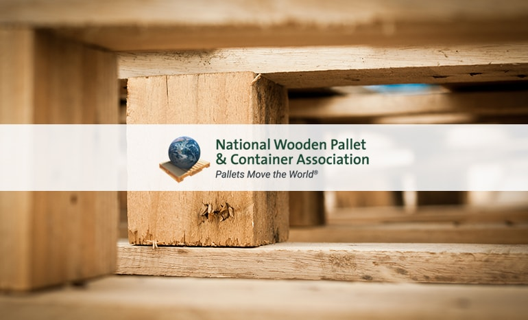 national wooden pallet & container association branding over pallets