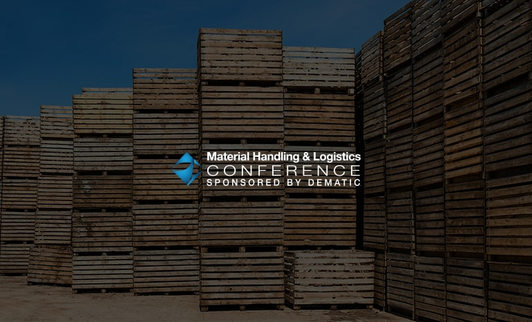 material handling & logistics conference branding over crates