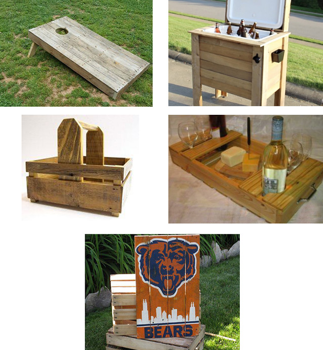 collage of tailgating projects you can make with a wooden pallet