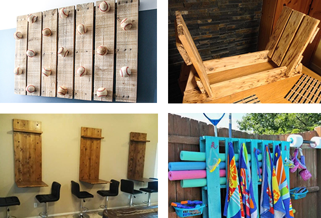 collage of different activities to make with wooden pallets
