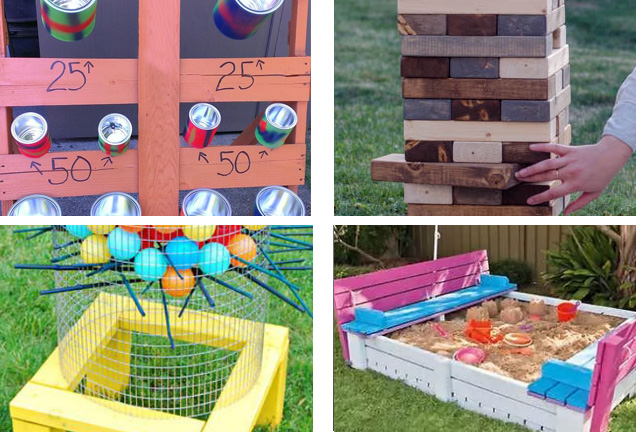 collage of different games you can make using a wooden pallet