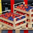 pallets holding apples and produce