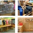 collage of multiple retail displays using wooden pallets