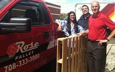 rose pallet team with combo pallet and company truck