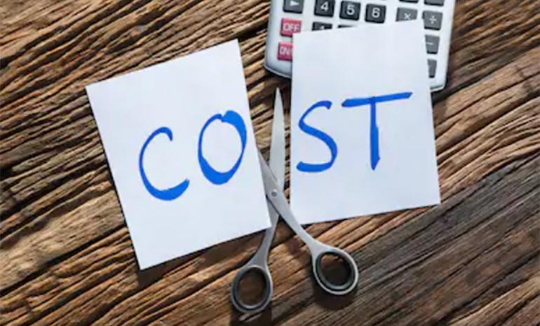 Cost written on paper cut in half